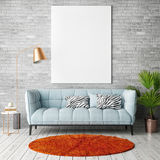 Mock up poster with vintage hipster loft interior background Stock Image