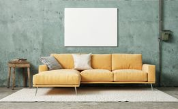 Mock up poster in vintage room, orange sofa with retro plaster wall.. Mock up poster in vintage room, 3d render, 3d illustration vector illustration