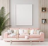 Mock up poster in warm home interior background, springtime