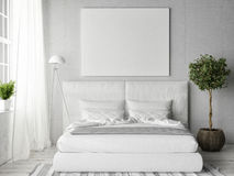 Mock up poster in white bedroom. 3d illustration Stock Photos