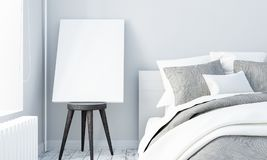 Mock up poster in white bedroom stock photos
