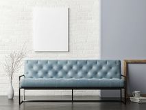 Mock up poster on white brick wall, blue sofa living room, Stock Photo