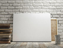 Mock up poster in white brick wall, wooden floor and wintge background. Horizontal concept. Mock up poster in white brick wall, wooden floor and wintge Royalty Free Stock Photo