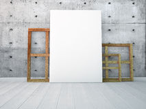 Mock up a poster in white interior wall. 3d render Royalty Free Stock Image