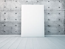 Mock up a poster in white interior wall. 3d render Royalty Free Stock Photography
