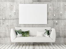 Mock up poster with white sofa, minimalism design,. 3d illustration Royalty Free Stock Photography