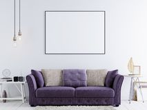Mock up poster on a white wall in modern hipster interior with violet sofa and white table. royalty free illustration