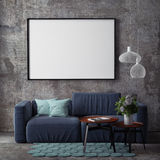 Mock Up Poster With Vintage Hipster Loft Interior Background, Royalty Free Stock Photo