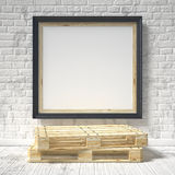 Mock up poster with wooden pallet. 3D Royalty Free Stock Photography