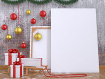 Mock up poster with wooden sledge, Christmas ball and presents Stock Images