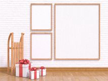 Mock up poster with wooden sledge and Christmas presents. 3D render Stock Photo