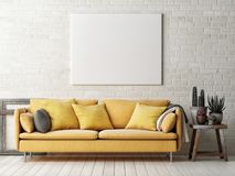 Mock up poster with yellow sofa, cactus and wooden frame, Royalty Free Stock Photography