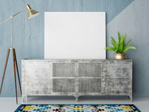 Mock up posteron retro chest of drawers, hipster interior backgroundart, black, blank, blue, board, brand, brick, business, canvas Stock Photos