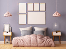 Mock up posters in bedroom interior. Interior hipster style. 3d rendering, 3d illustration. Stock Photography