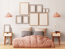 Mock up posters in bedroom interior. Interior hipster style. 3d rendering, 3d illustration. Royalty Free Stock Photos