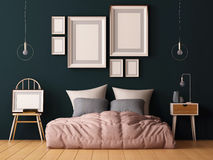 Mock up posters in bedroom interior. Interior hipster style. 3d rendering, 3d illustration. Stock Images