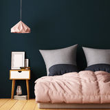 Mock up posters in bedroom interior. Interior hipster style. 3d rendering, 3d illustration. Stock Photo