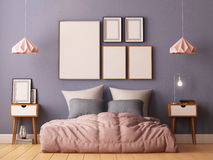 Mock up posters in bedroom interior. Interior hipster style. 3d rendering, 3d illustration. Royalty Free Stock Images