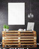 Mock Up Posters Frames And Hipster Loft Interior Background Royalty Free Stock Photo
