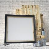 Mock up posters frames in art atelier, 3D render Stock Photo