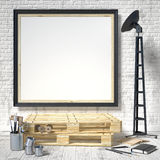 Mock up posters frames in art atelier, 3D render Royalty Free Stock Photo