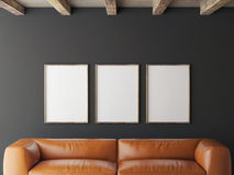 Mock up posters on grey wall, 3d illustration Royalty Free Stock Images