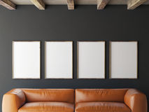 Mock up posters on grey wall, 3d illustration Stock Image
