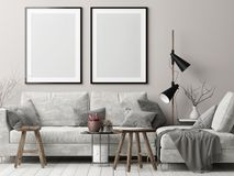 Free Mock Up Posters In Nordic Hipster Living Room, 3d Render, 3d Illustration Stock Photography - 103498262