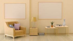 Mock up posters in the interior in warm colors royalty free illustration