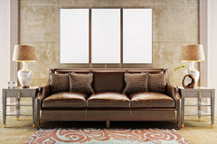 Mock up posters with leather sofa couch. Royalty Free Stock Photography