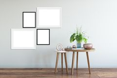 Mock up posters in living room interior. Interior scandinavian style. 3d rendering, 3d illustration. Perfect for Branding your creation or business. Interior Royalty Free Stock Photo