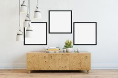 Mock up posters in living room interior. Interior scandinavian style. 3d rendering, 3d illustration. Perfect for Branding your creation or business. Interior Royalty Free Stock Image