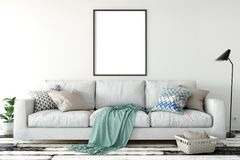Mock up posters in living room interior. Interior scandinavian style. 3d rendering, 3d illustration. Perfect for Branding your creation or business. Interior Royalty Free Stock Photos