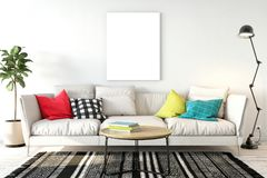 Mock up posters in living room interior. Interior scandinavian style. 3d rendering, 3d illustration. Perfect for Branding your creation or business. Interior Royalty Free Stock Images