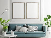 Mock up posters, pastel comfortable sofa, Living room style,. 3d render, 3d illustration royalty free illustration
