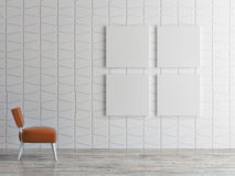 Mock up posters on pattern wall, 3d illustration Royalty Free Stock Image