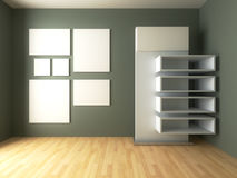 Mock-up posters with shelf design on empty room Royalty Free Stock Image