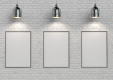 Mock up posters on white brick wall with lamp. 3d illustration Royalty Free Stock Images