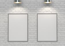 Mock up posters on white brick wall with lamp. 3d illustration Stock Photography