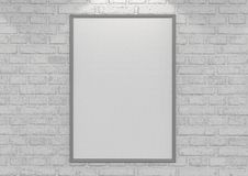 Mock up posters on white brick wall with lamp. 3d illustration. Mock up posters on white brick wall with lamp Stock Photo