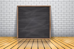 Mock up for presentation framed signboard standing on glossy wooden floor, Chalkboard wood frame Royalty Free Stock Image