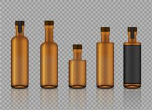 Mock up Realistic Amber Transparent Glass With Cork Cap for Drink, Alcohol, Cocktail, Wine Product Bottles Background Illustration stock illustration