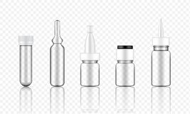 Mock up Realistic Transparent Cosmetic Serum, Ampoule, Oil Dropper Bottles Set for Skincare Product Background Illustration. Vector stock illustration