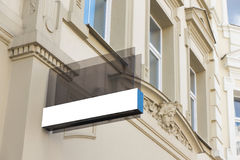 Mock up. Rectangular glass signboard on the wall Royalty Free Stock Photography
