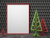 Mock-up red canvas frame, and Christmas trees. 3D. Render illustration on black triangulated background Stock Photography