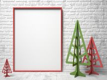 Mock-up red canvas frame, and Christmas trees. 3D Stock Photos