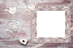 Mock up of romantic invitation. Performed in vintage style,  blank photo frame Stock Photos