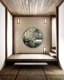 Room minimal design with Tatami mat floor and Japanese, empty room interior, 3D rendering. Mock up Room minimal design with Tatami mat floor and Japanese, empty stock illustration