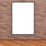 Mock up room, white poster on brick wall 3D rendering. Mock up room, white empty poster on brick wall 3D rendering Stock Image