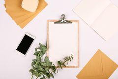 Mock up set business tablet phone plants notebook. Mock up set business set with tablet phone plants notebook Stock Photos